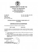 Belize Offshore Company Tax Certificate
