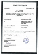 Cyprus Offshore Company Share Certificate