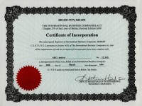 Belize Offshore Company Certificate of Incorporation